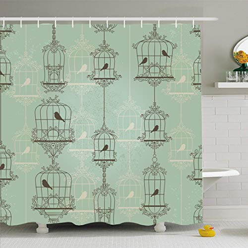Ahawoso Shower Curtain 66x72 Inches Vintage Green Cage Birds Birdcages Drawing Pattern Antique Nature Wall Black Caged Waterproof Polyester Fabric Set with Hooks (Vintage Bird Cage Shower Curtain)