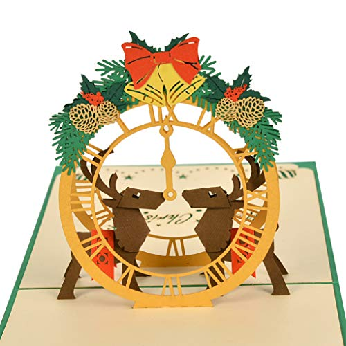 CutePopup Popup cards 3D Merry Christmas Reindeers & Clock Card - Christmas & New Year Popup Greeting Card - 3D Card, Holiday Card (E Greeting Cards For Christmas And New Year)