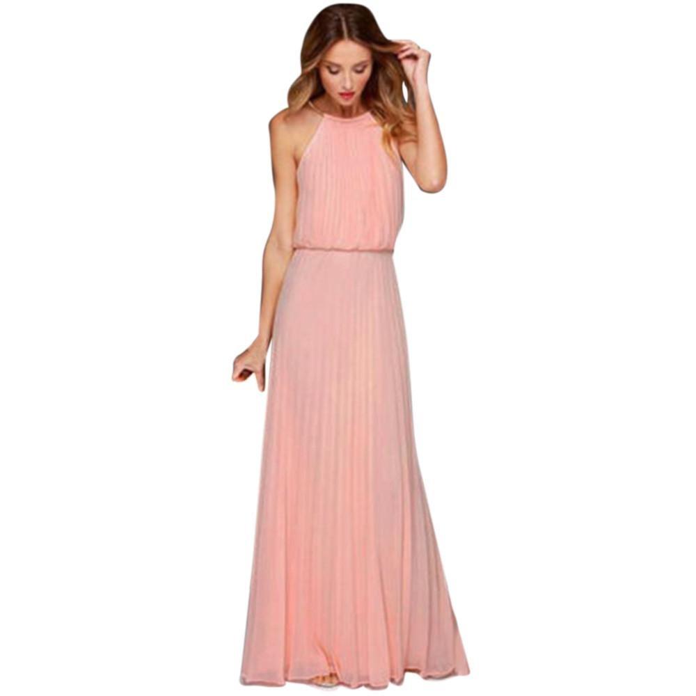 Perman Cheap Womens Dresses, Summer Chiffon Solid Fold Halter Sleeveless Backless Evening Party Long Maxi Dress