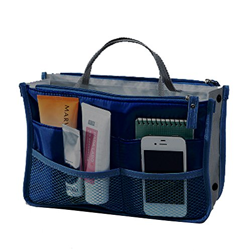 WITERY Travel Essential Bags-in-Bag,Travel Storage Mesh Bag Organiser iPad Case Cosmetic Bag Make-up Beauty Wash Bag Navy Blue