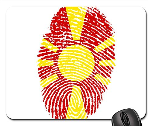 Mouse Pads - Macedonia Flag Fingerprint Country Pride Identity (Rear Excavator)