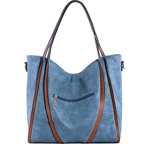 PU Women Blue Handbags for Purse Leather Ladies Handle Top Tote Bags Satchel JOYSON Shoulder wIBdHqOTBn