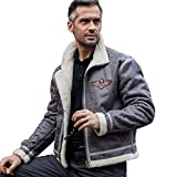 FREE SOLDIER Men Classic Bomber Jacket Autumn Winter Heat-conserving Leather Fur Tactical Pilot Jacket (Gray, X-Large)