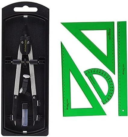 Faber-Castell 32722-8 - Compás de ajuste rápido, con tornillo central, articulaciones en ambos brazos + Faber Castell 65021 - Pack escolar con escuadra, cartabón, regla y semicírculo, color verde: Amazon.es: Oficina y papelería