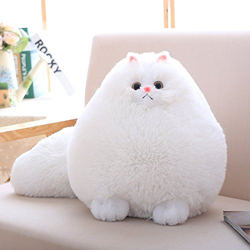 Fluffy Cat - Winsterch Kids Stuffed Cats Plush Animal Toys Gift Animal Baby Doll,White Cat Plush,11.8''