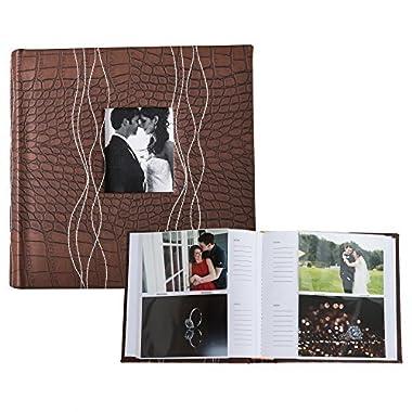Profolio Photo Albums 200-Pocket Sewn Leatherette Frame Cover Photo Album, Dark Brown