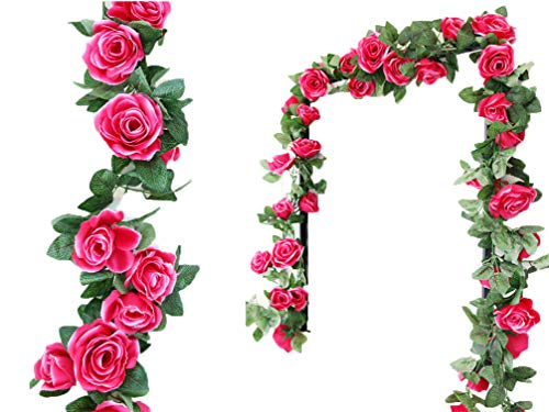 Wedding Pink Red Flowers (Lannu 2 Pack Artificial Rose Vine Flowers Fake Garland Ivy Flowers Silk Hanging Garland Plants for Home Wedding Party Decorations (Baby RED))