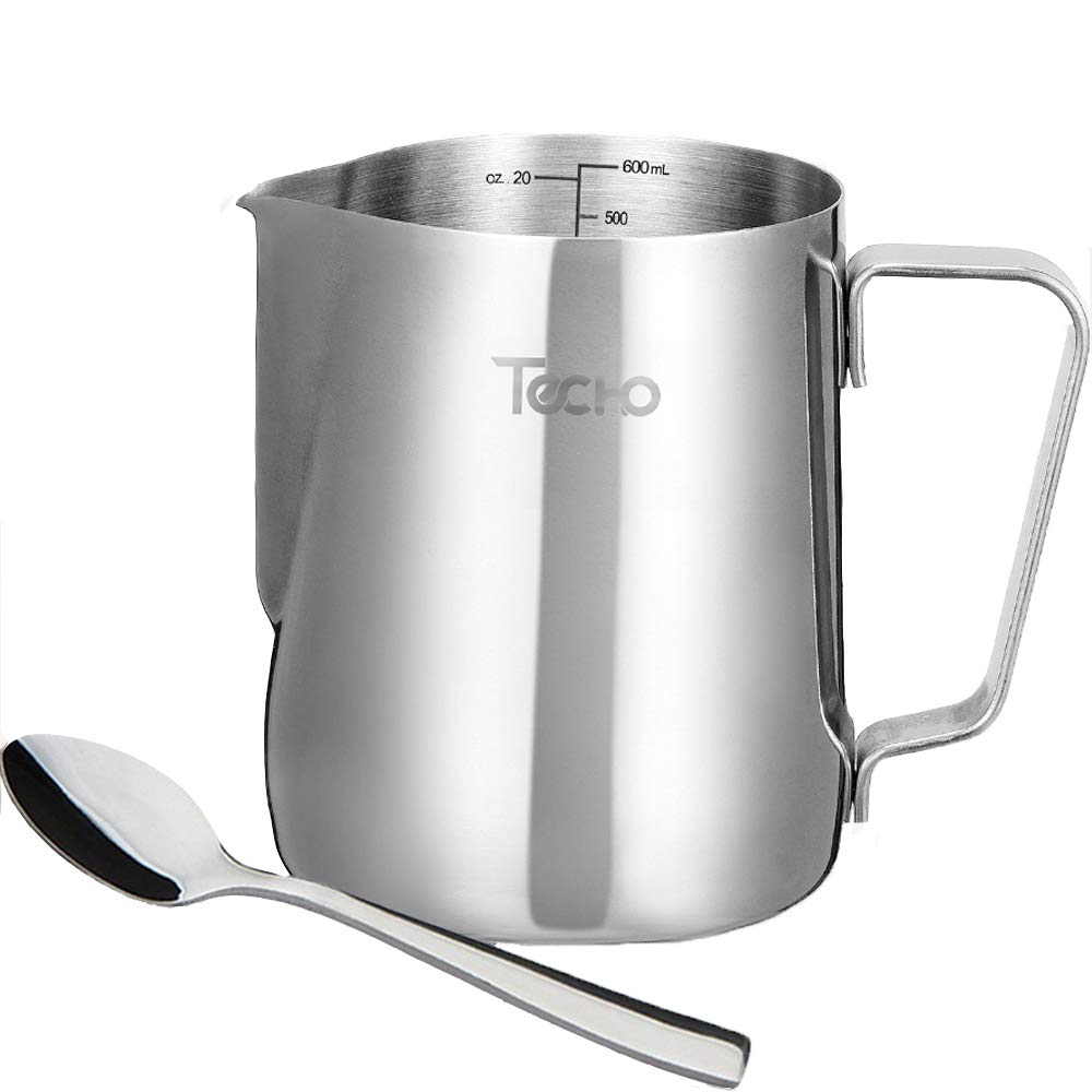 Techo Milk Frothing Pitcher, Stainless Steel Creamer Frothing Pitcher 20 oz (600 ml) with Spoon