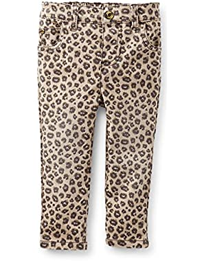 Baby Girls' Stretch Twill Jeans - (Brown) Cheeah Print