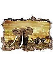3D effect muurtattoo sticker doorbraak zelfklevende muurschildering muursticker stenen muur doorbraak muursticker tattoo,majestueuze olifant in savanne,Afmeting: 60x90 cm