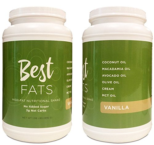 BEST FATS® High-Fat Nutritional Shake - Low Carb Protein Powder with Healthy Fats - Perfect for Keto, Ketosis, Ketogenic, Low Insulin Diets - Meal Replacement Shake, Just Add Water (VANILLA) by BEST FATS