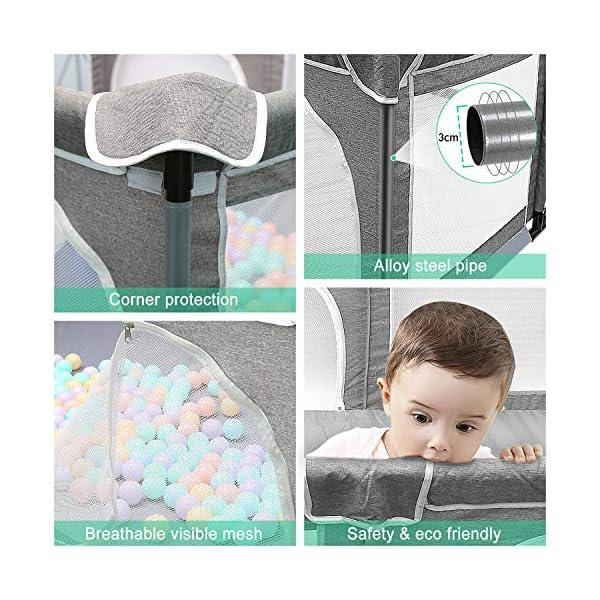 Box per bambini, box XL, centro di attività per bambini, interno ed esterno, con base antiscivolo, griglia di protezione… 4 spesavip