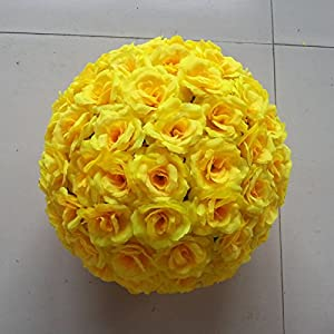 XGM GOU Artificial Flowers Wedding Hanging Decoration 15Cm Rose Balls Bouquet Yellow Flower Party Home Decoration Decorative Rose 77