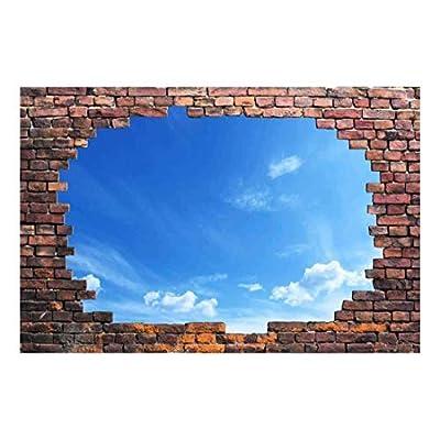 Wall26 - Large Wall Mural - Blue Sunny Sky Viewed Through a Broken Brick Wall   3D Visual Effect Self-Adhesive Vinyl Wallpaper/Removable Modern Decorating Wall Art - 66