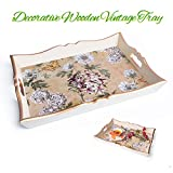 Tebio Handmade Fiberboard Wooden Decorative Tray with Build-in Handles Vintage Style, 15.4x11.2 Inch, Peony