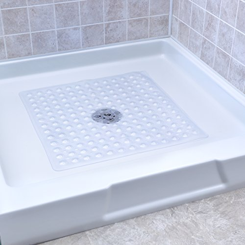 SlipX Solutions Clear Square Shower Stall Mat Provides Reliable Slip-Resistance (21' Sides, 160+ Suction Cups, Great Drainage)
