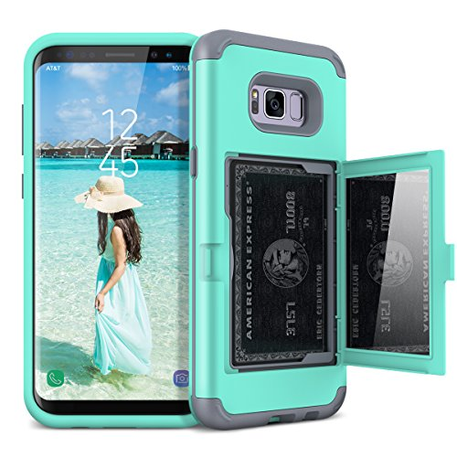 Galaxy S8 Plus Wallet Case, WeLoveCase Galaxy S8 Plus Case Card Holder Wallet Cover with Kickstand & Mirror 3 in 1 Hybrid Shockproof Heavy Duty Full Protective Cases for Samsung Galaxy S8 Plus - Mint