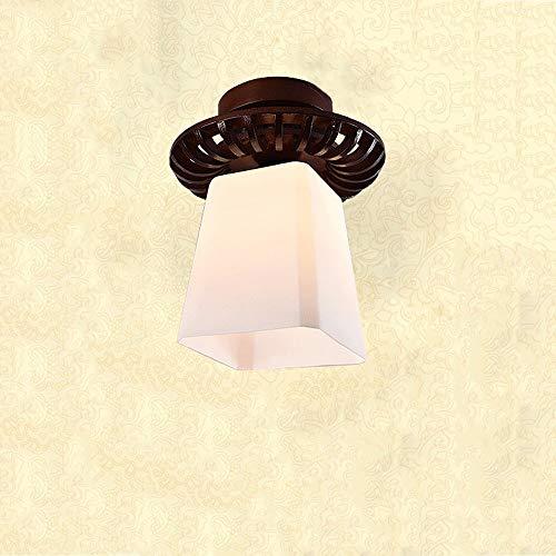 ZYY Rétro en bois massif plafond lampe abat-jour en verre haute transmission de la lumière encastré montage haute qualité couloir couloir couloir lampe de plafond 18  30cm (Couleur  Style B)