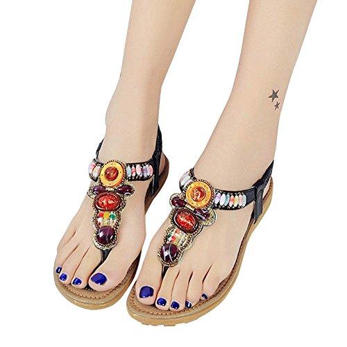 Anboo Dames Retro String Kraal Sandalen Open-teen Outdoor Elastische Rugband Platte Schoenen Zwart