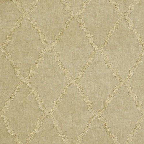 (Swatch Sample Fabric Robert Allen Beacon Hill Deblois Linen Embroidered Lattice Drapery)