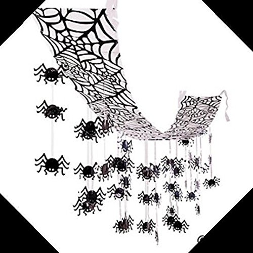 12ft Black Widow Spider Web CEILING GARLAND Halloween Haunted House Party Decor
