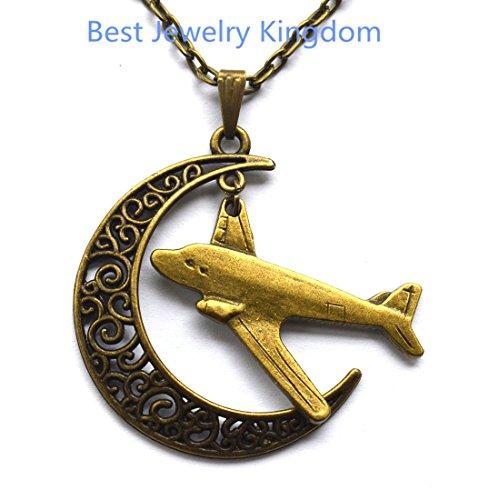 ce Moon Necklace Silver Moon Pendant,Airplane Necklace Flying Plane Necklace Aircraft Necklace Travel Jewelry Aviation Gift Pilot Flight Attendant Gift Best Friend Long Distance ()