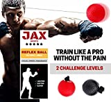 JAX Sports Boxing Reflex Ball, 2 Difficulty Level Boxing Ball with Headband, Softer than Tennis Ball, Perfect for Boxing Punching Accuracy Improvement and Hand Eye Coordination Training
