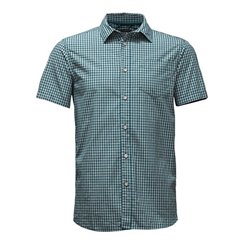 - The North Face Men's Short Sleeve Shadow Gingham Shirt Blue Coral Medium