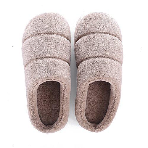 amp; Fuyingda Chaussures Khaki Peluche Maison Femmes Hommes Hiver Pantoufles Coton Chaussons Chaud Femme Confortable wP0xwqr7