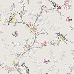 Phoebe Birds Wallpaper Dove Grey (98081)