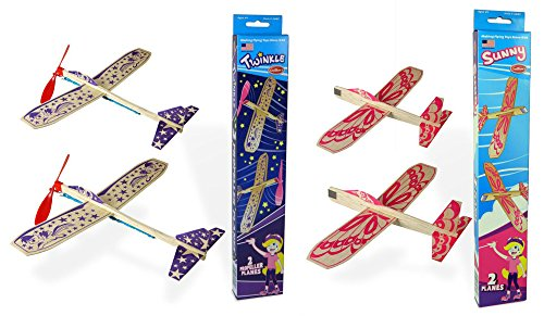 (Guillow Girls Balsa Wood Model Airplane Set - (Pack of 4 Planes) - 2 Purple Twinkle Rubberband Powered Airplanes, and 2 Sunny Pink Gliders)