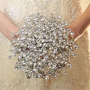 Zebratown Acrylic Crystal Pearl Silk Roses Bridal Bridesmaid Wedding Bouquet (Clear) 23