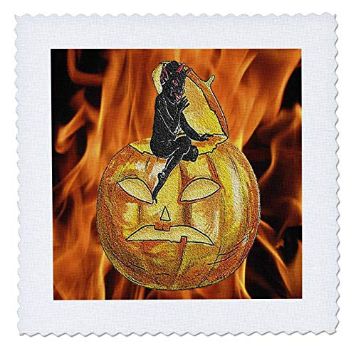 3dRose Sandy Mertens Vintage Halloween Designs - Devil on Jack o Lantern with Modern Flames Background - 10x10 inch quilt square (qs_53710_1)