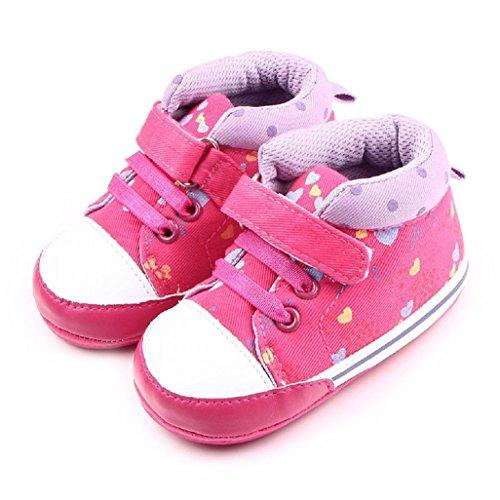 Auxma Baby Mädchen-Segeltuch-Schuh-weiche alleinige Babyschuhe für 0-18month (13cm/12-18 Monate)