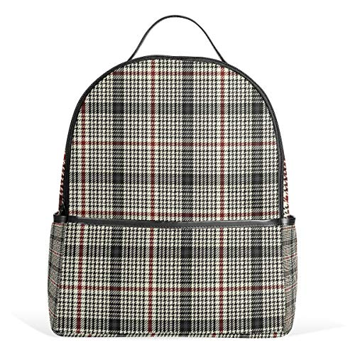 Plaid Pattern Black White Backpack for Women Teen Girls Purse Fashion Bag Bookbag Children Travel College Casual Daypack Boy Preschool Homecoming Back to School Supplies Mini