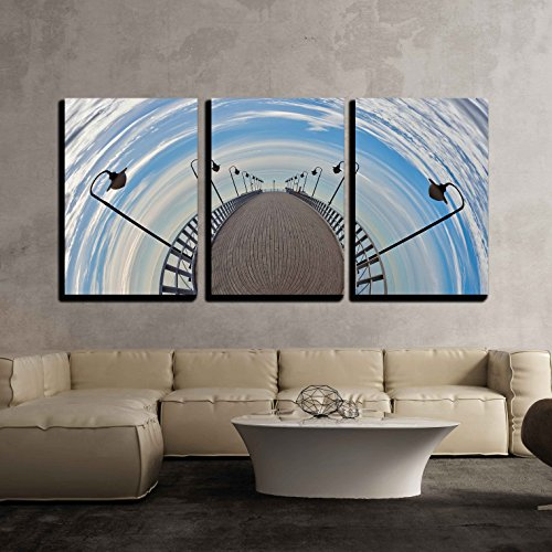 wall26 3 Piece Canvas Wall Art - Pier Fisheye - a Vision of Humorous - Modern Home Decor Stretched and Framed Ready to Hang - 16