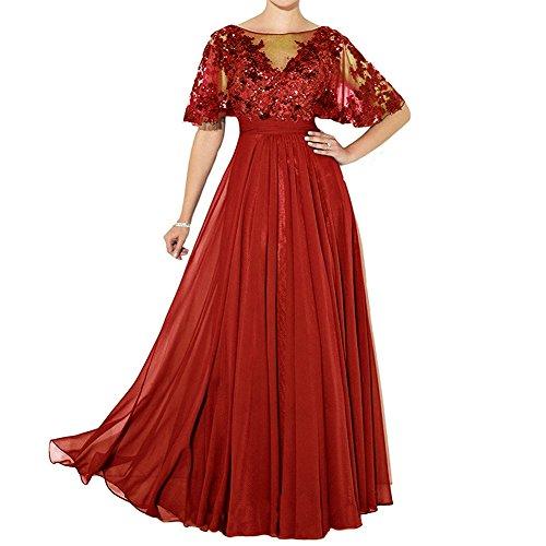 Braut Abschlussball H¨¹lsen Maxi langes formales der HWAN Rot Kleid Mutter Kleid qZf77w