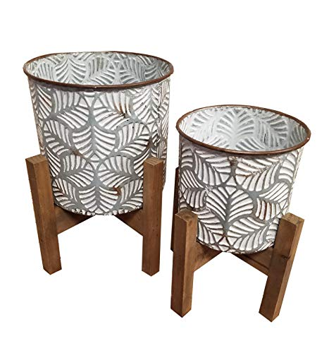 (Galvanized Metal Embossed Leaf Planters with Wood Stands Set of Two)