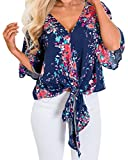 Silindashop Women's Casual Short Sleeve Knot Tie Front Loose Fit Floral Top Tee T-Shirt Blouses S Navy