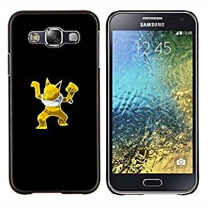 KLONGSHOP // Cubierta de piel con cierre a presión Shell trasero duro de goma Protección Caso - Oro P0kemon - Samsung Galaxy E5 E500 //