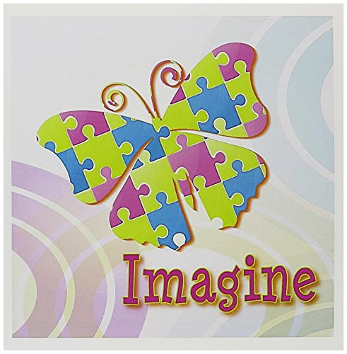 12 Piece Greeting Card (3dRose Set of 12 Greeting Cards, Autism Awareness Puzzle Pieces Butterfly Design (gc_102515_2))