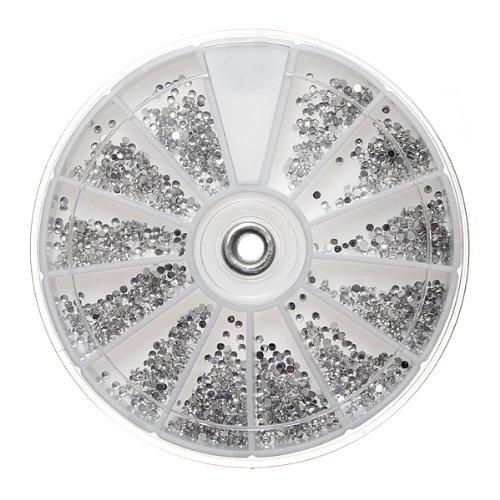 Carrousel Argenté Strass boites Cristal Ongle Manucure Nail Art Glitter 1.5MM wheel