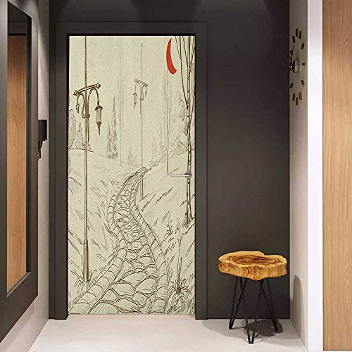 Onefzc Glass Door Sticker Decals Lantern Park Alley with Stone Road and Lanterns at Night in Illuminated Areas Artsy Sketch Door Mural Free Sticker W38.5 x H79 Beige Red