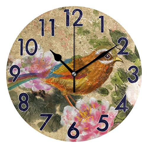 (Chic Houses Round Wall Clock Chinese Style Classic Theme Watercolor Painting 8 Inch Battery Operated Bird Blooming Peony Flower Acrylic Creative Decorative for Living Room Kitchen Bedroom 2030670)