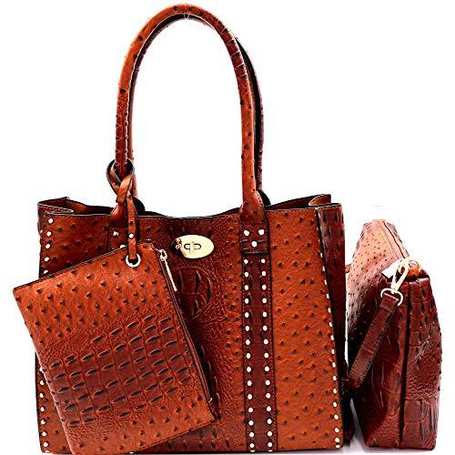 Twist Lock Studded 3 in 1 Soft Structure Vegan Leather Tote Purse Handbag SET (Ostrich Print - Cognac)