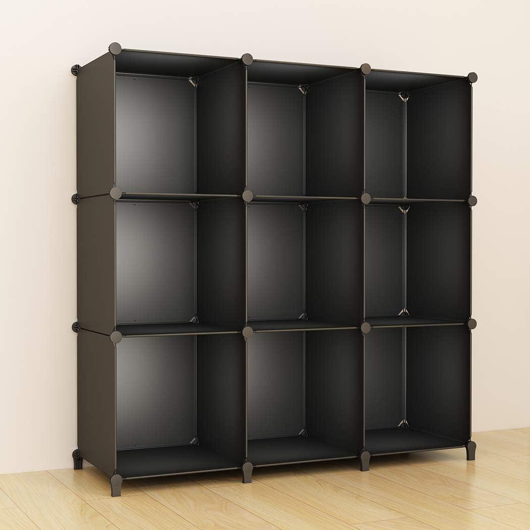 SIMPDIY Storage Cubos modulares 9 Cubos Negro (93x93x30cm) Organizador portátil de plástico Estantería Estante Estante