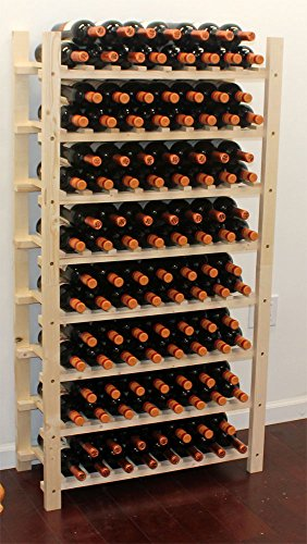Stackable Wine Storage Rack, Wooden Stand, (120 Bottles Capacity: 8 rows) ()