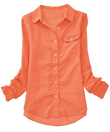 Amoin Women's Polka Dot Long-sleeve Vintage Casual Blouse Shirt 6611,Dark Orange,Medium