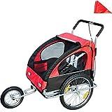 Remolque para Niños 2 PLAZAS con Amortiguadores Carro para Bicicleta con Barra INCLUIDA y Kit de Footing Color Rojo Y Negro