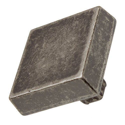 GlideRite Hardware 5738-WN-10 1.125 Modern Square Brushed Weathered Nickel Cabinet Knobs 10 (Weathered Cabinet Hardware Knob)